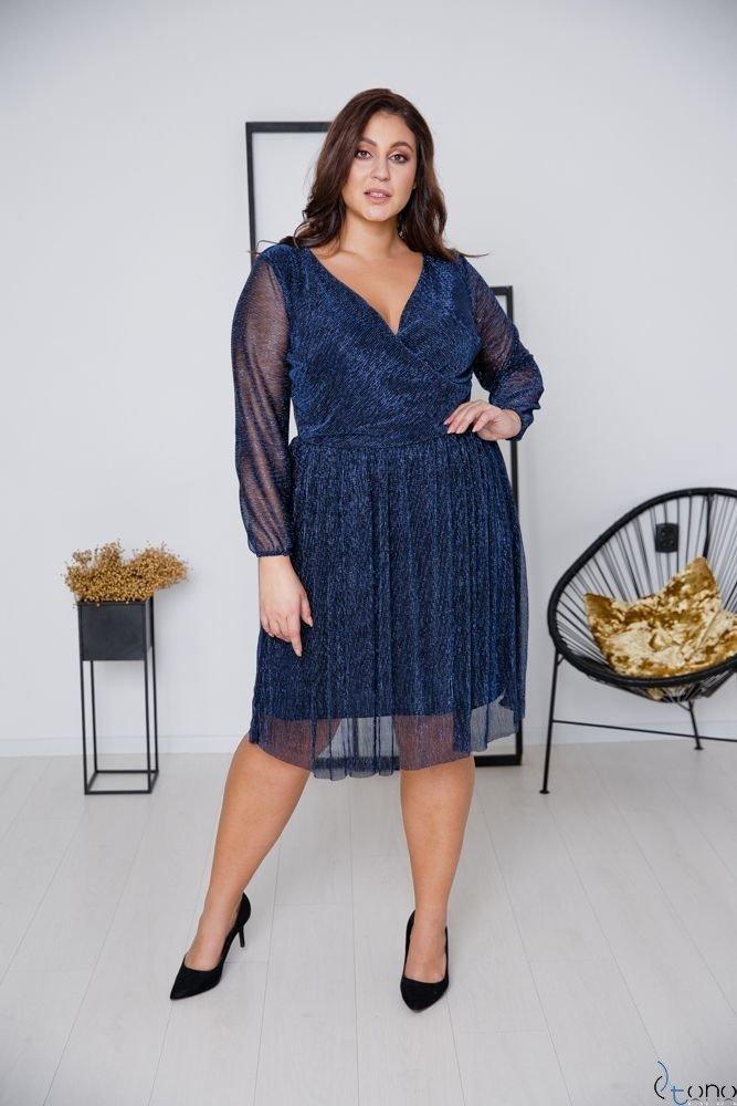 Granatowa Sukienka NIKOLLA Plus Size