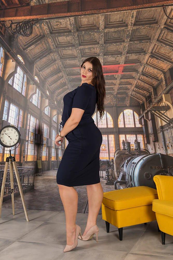 Granatowa Sukienka PONNY Plus Size Odcinana