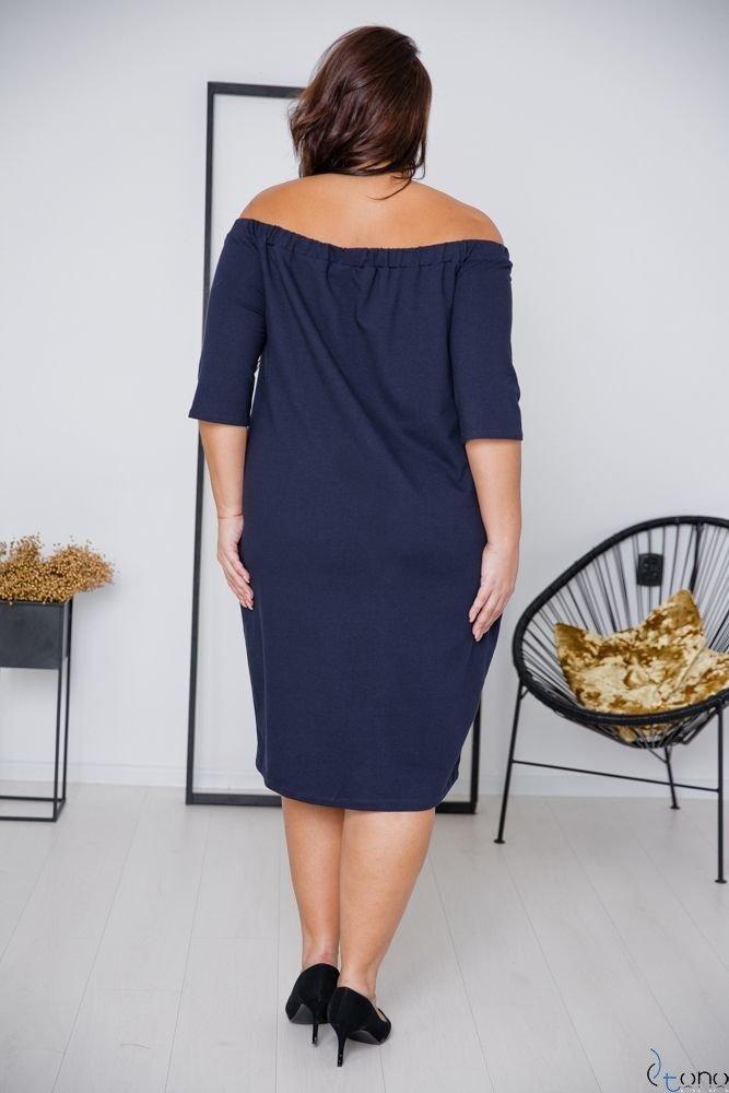 Granatowa Sukienka ROSETTA Plus Size