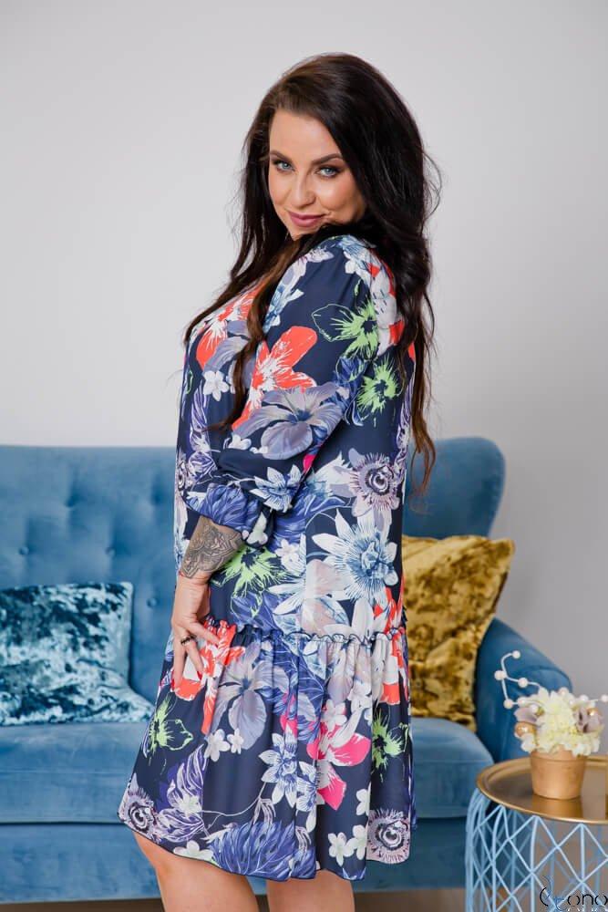 Granatowa Sukienka SARA Plus Size