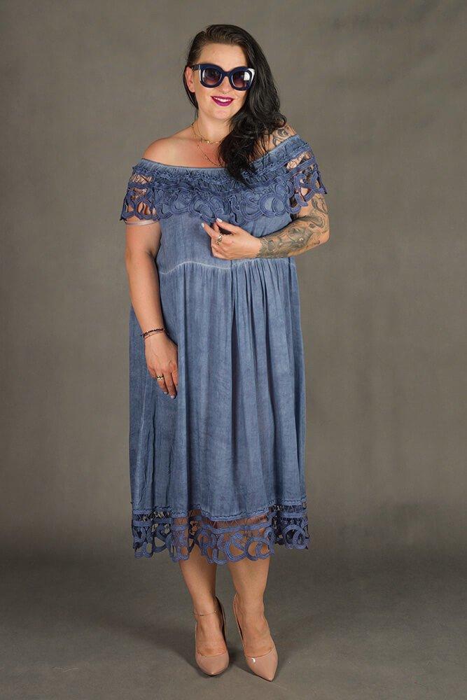 Granatowa Sukienka VACANZA Hiszpanka Plus Size