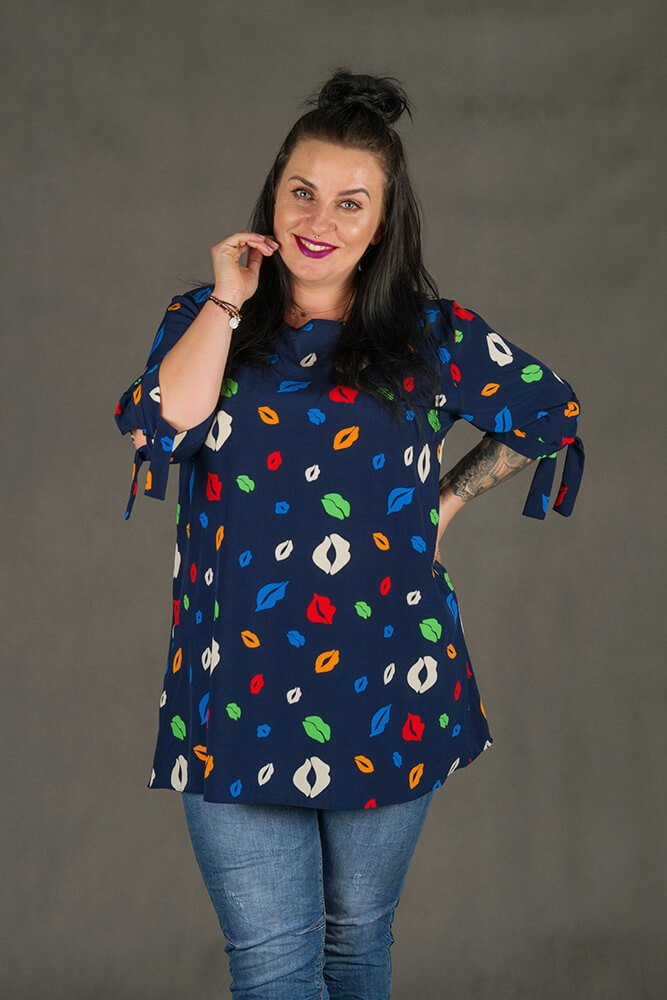 Granatowa Tunika KISSES Plus Size