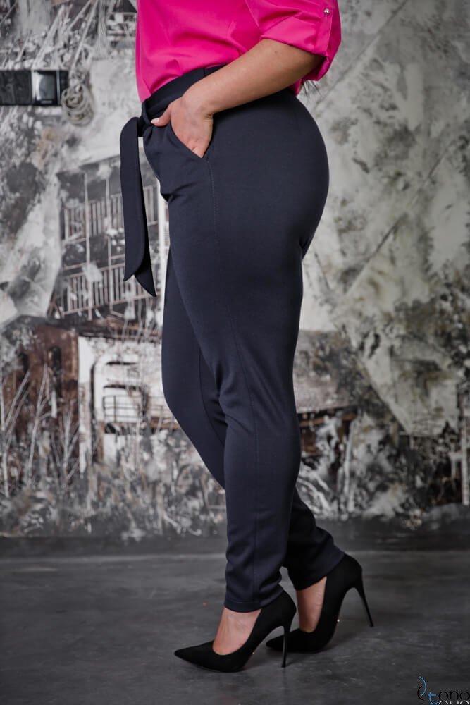 Granatowe Spodnie LOREGIO Plus Size