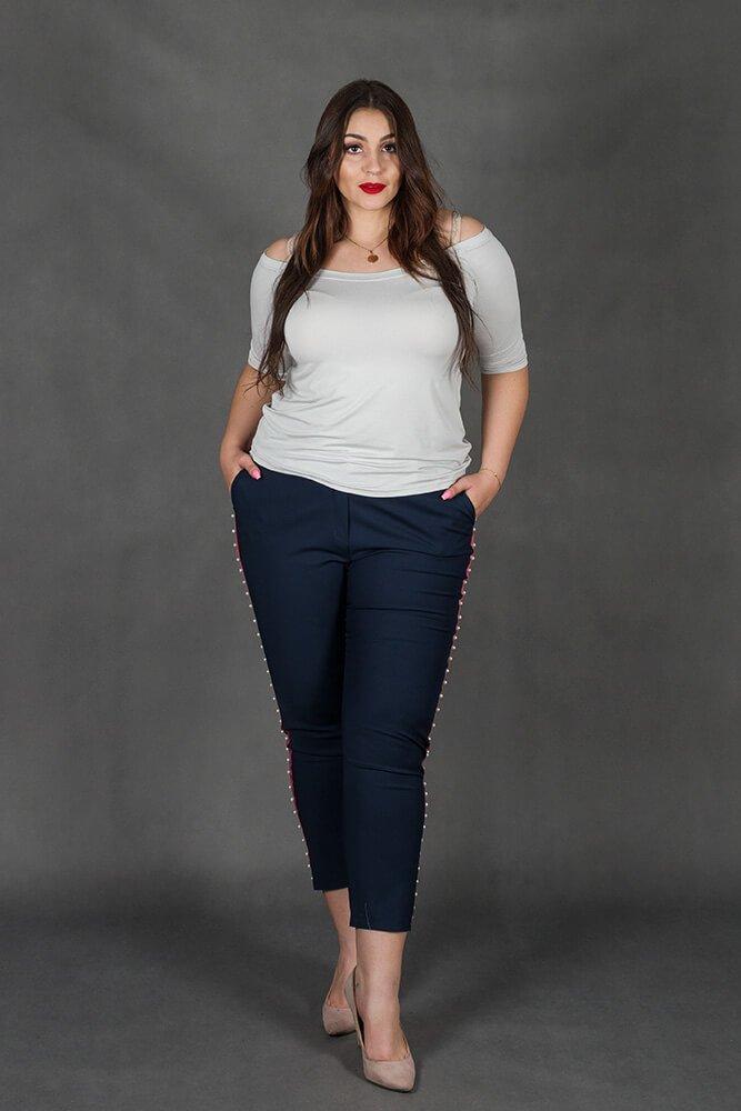 Granatowe Spodnie SORIA Lampas Plus Size