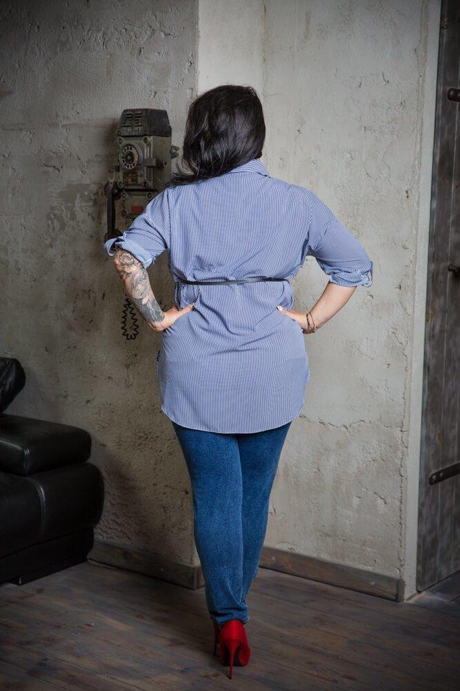 Granatowo-Biała Koszula BOTTA Plus Size Paski