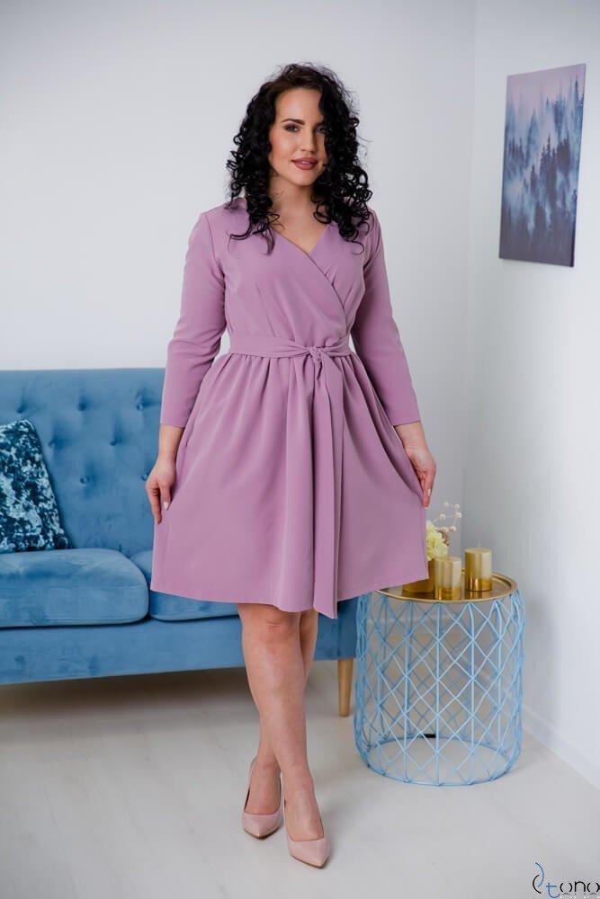 Jasnowrzosowa Sukienka MAKAN Kopertowa Plus Size