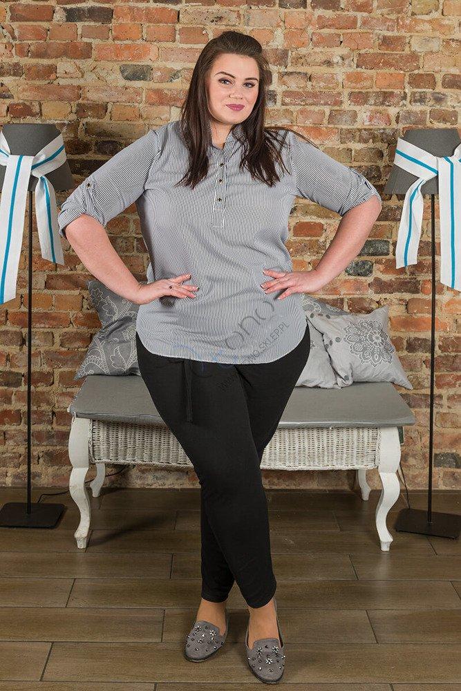 Koszula damska CALZA Paski duży rozmiar czerń