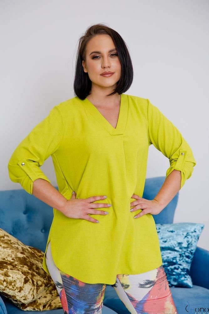 Limonkowa Bluzka JUSTIN Plus Size