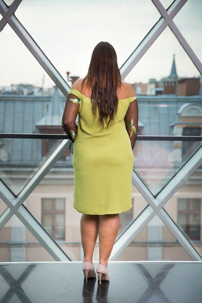 Limonkowa Sukienka MADAME Plus Size