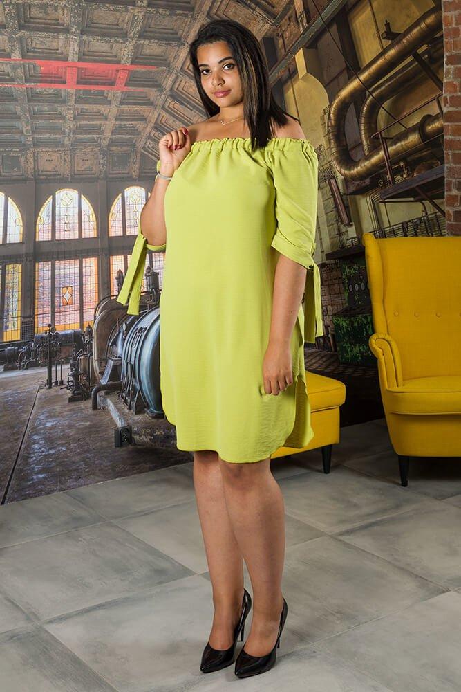 Limonkowa Sukienka VALENCIA Hiszpanka Plus Size