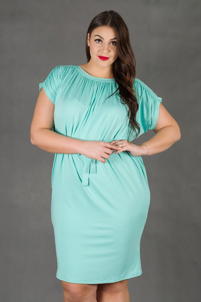 Miętowa Sukienka SEMPRE Plus Size Drapowana