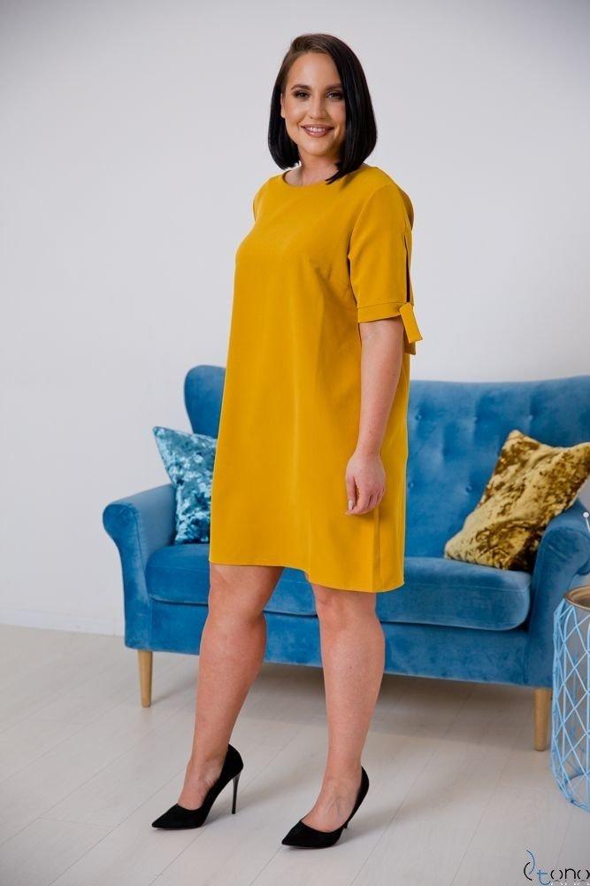 Musztardowa Sukienka SAFANA Plus Size