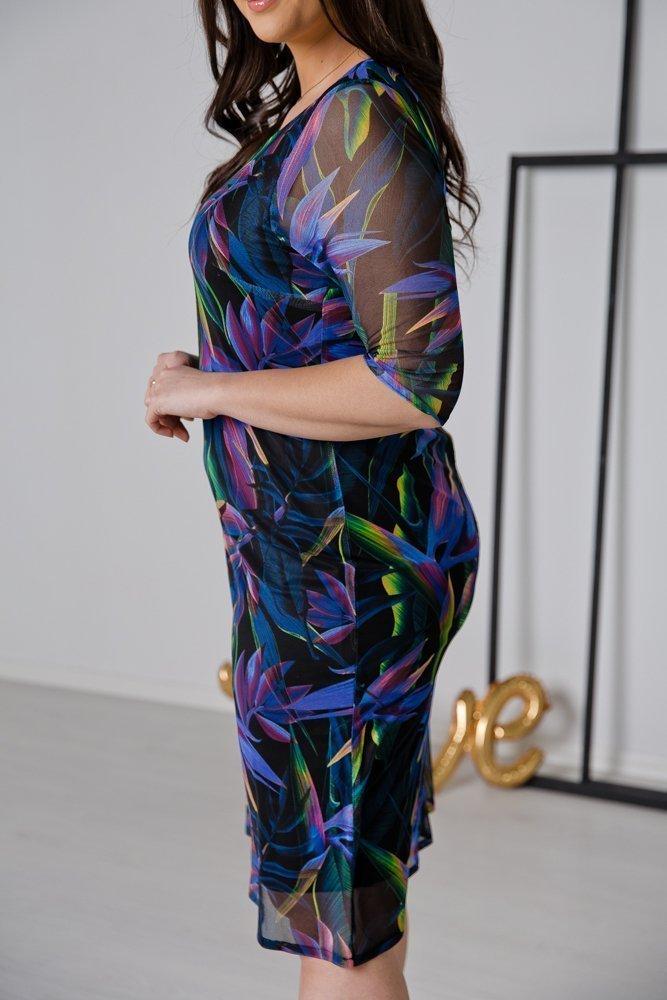 Niebieska Sukienka DORMA Plus Size Wzór 3