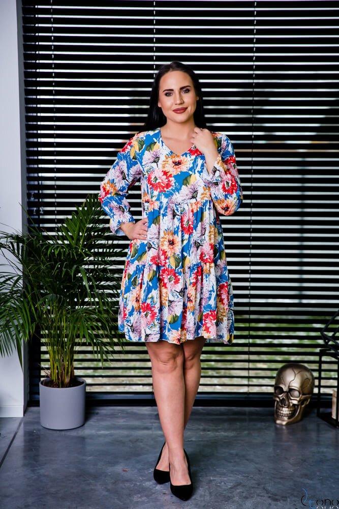 Niebieska Sukienka LIVELLA Kwiaty Plus Size