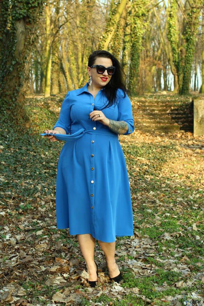 Niebieska Sukienka LORRINA Plus Size