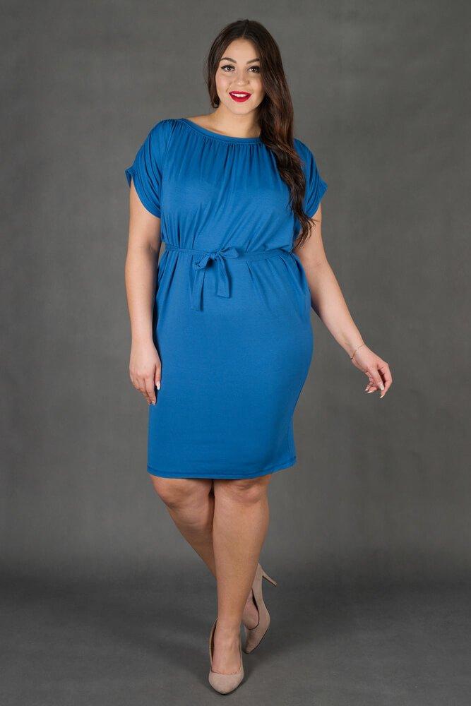 Niebieska Sukienka SEMPRE Plus Size Drapowana