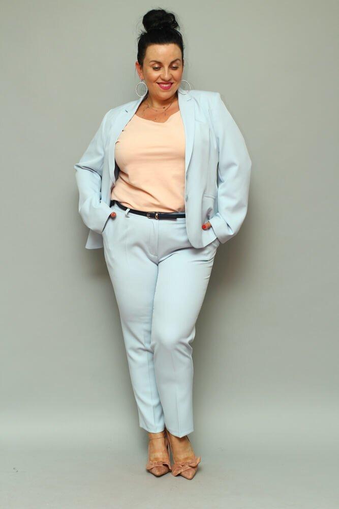 Niebieski komplet Żakiet + Spodnie ESTELA Plus Size