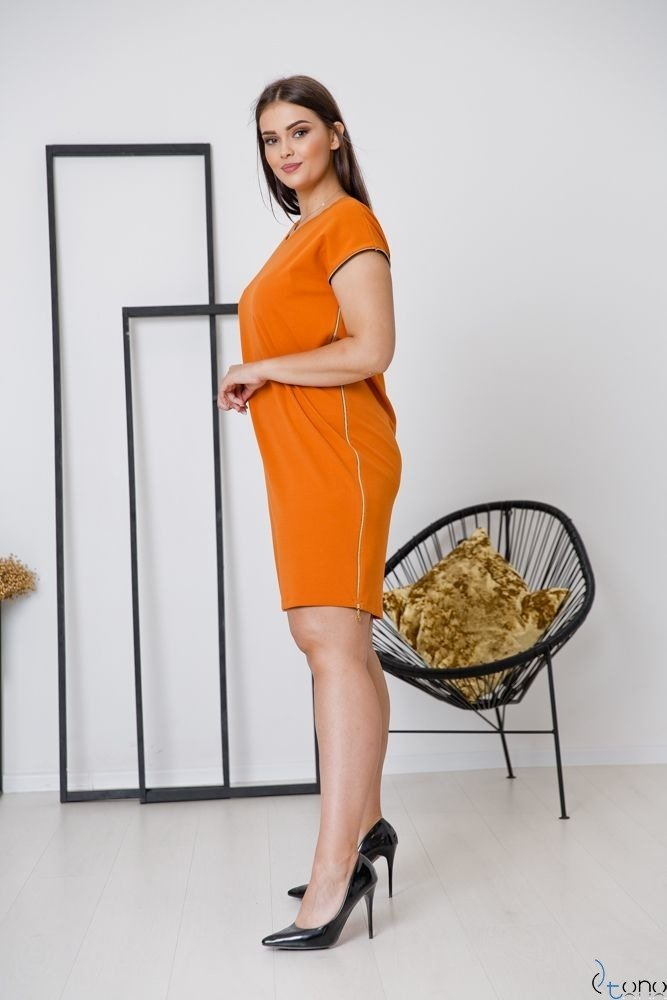 Pomarańczowa Sukienka CARBONA Plus Size
