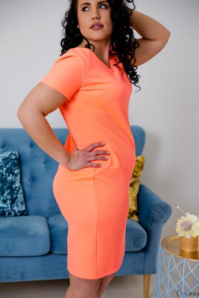 Pomarańczowa Sukienka CARISMA Plus Size