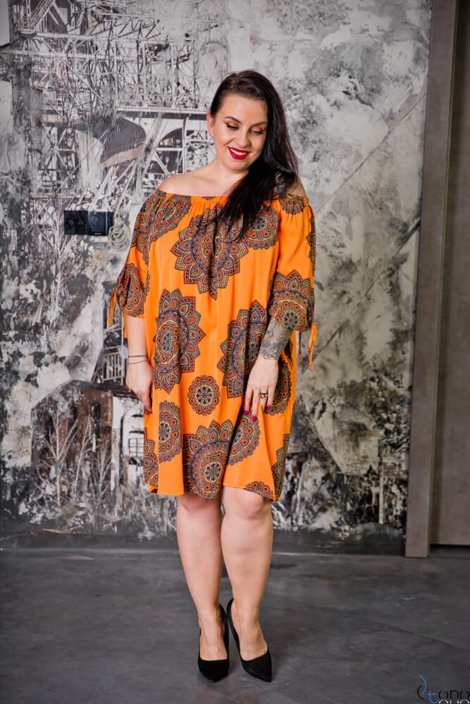 Pomarańczowa Sukienka RAVENA Plus Size