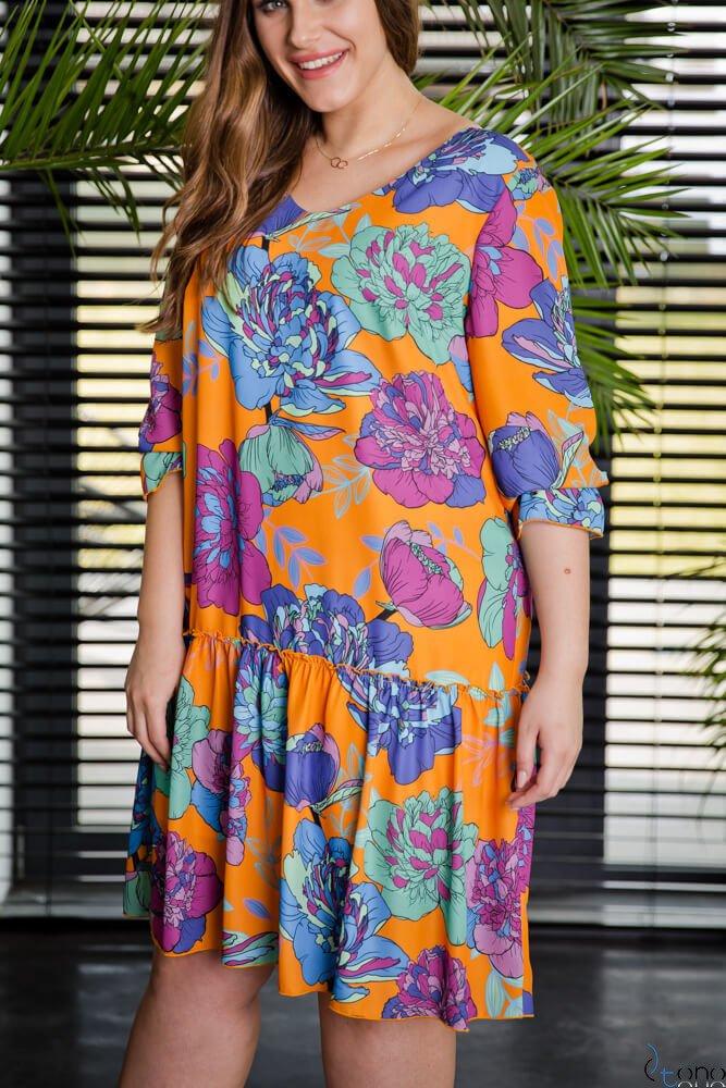 Pomarańczowa Sukienka SARA Plus Size