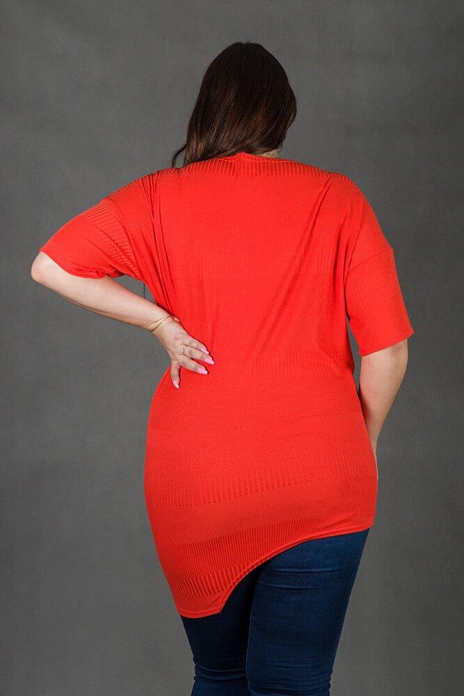 Pomarańczowa Tunika TASCA Plus Size Asymetryczna