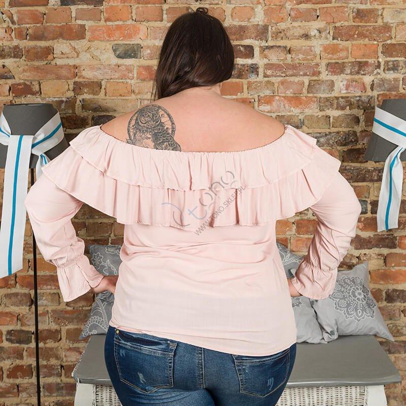 Różowa Bluzka BASTIA Hiszpanka Koszulowa Modna Plus Size
