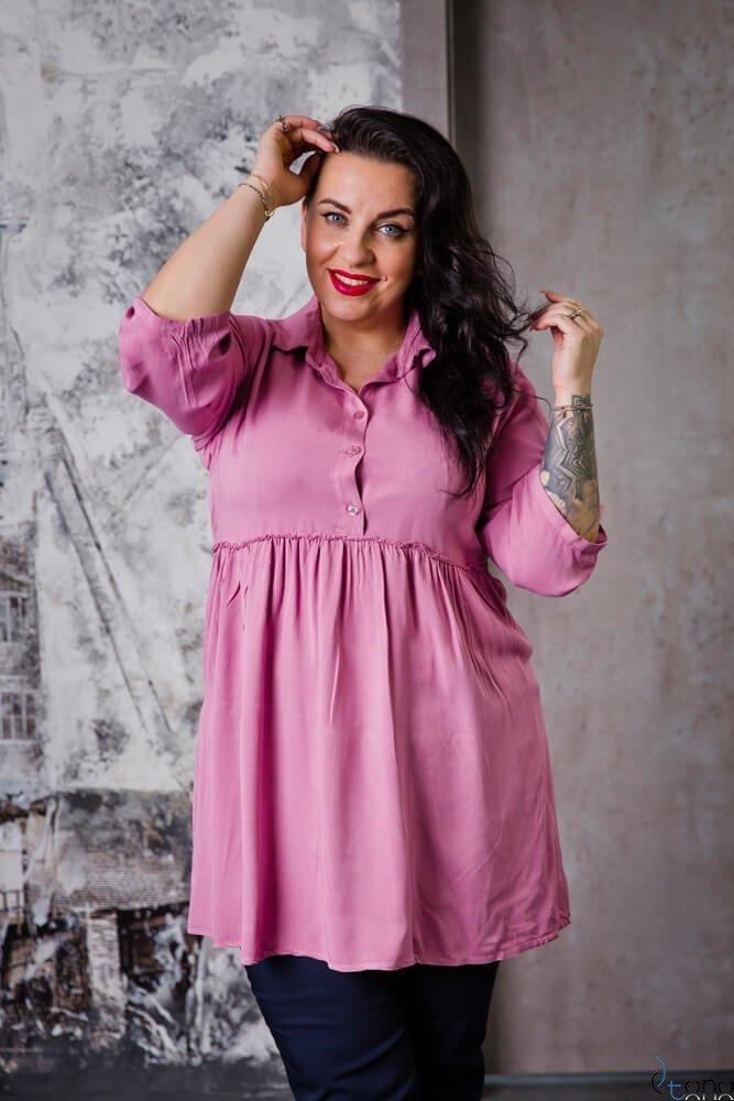 Różowa Bluzka TERMINA Plus Size