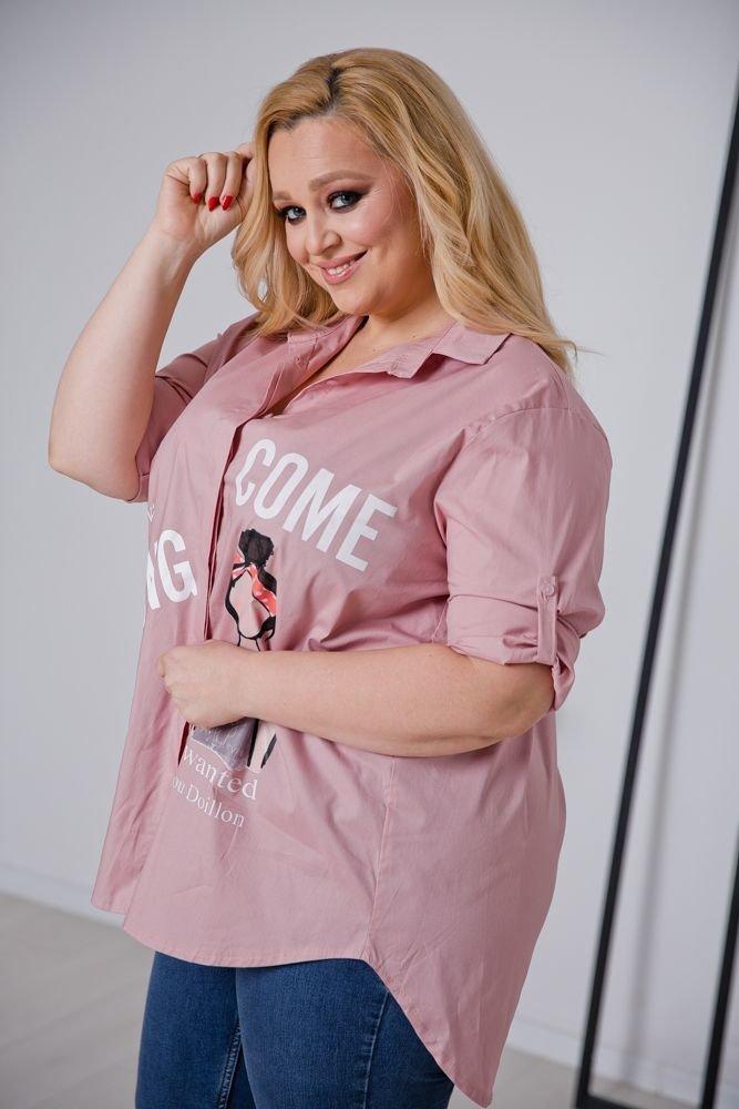 Różowa Koszula BAMBOLA Plus Size
