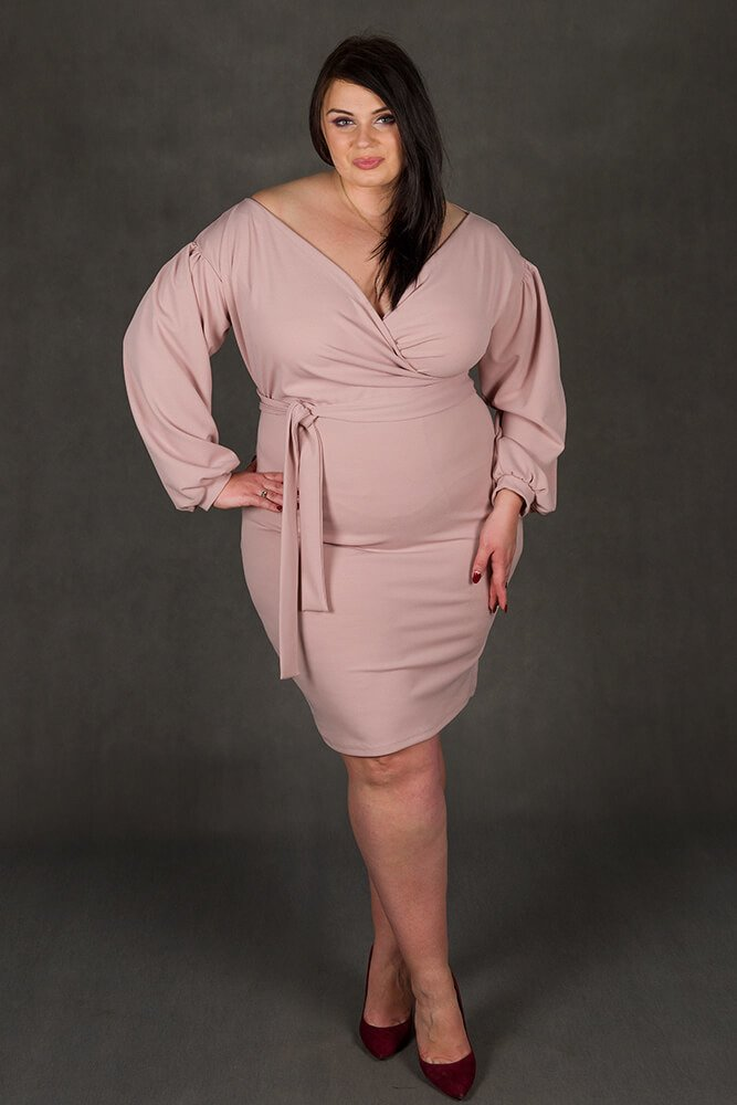 Różowa Sukienka ASHLEY Plus Size Zmysłowa