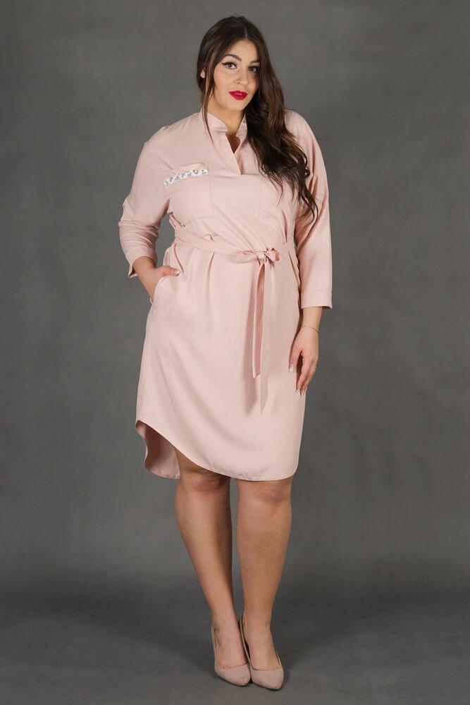Rożowa Sukienka FIONNA Plus Size Koszulowa