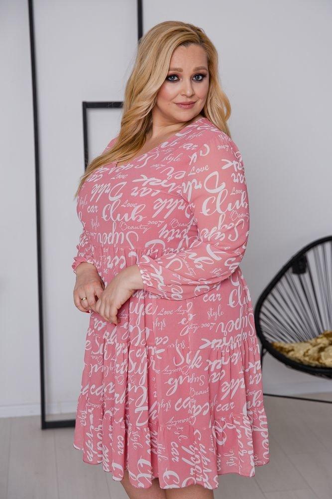 Różowa  Sukienka FLANEA Plus Size