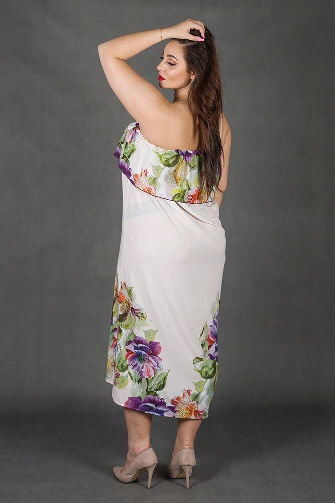 Różowa Sukienka LORITA Hiszpanka Kwiaty