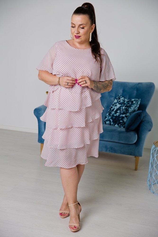 Różowa Sukienka ORINA Plus Size w groszki