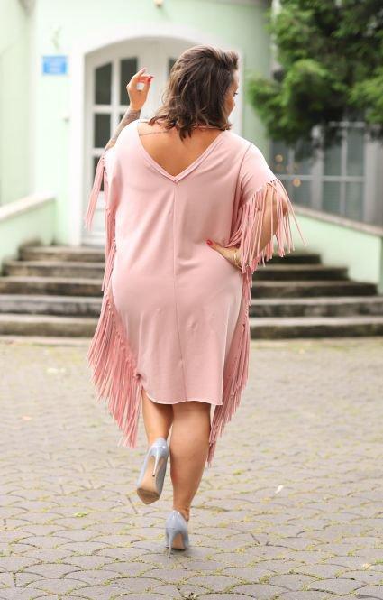 Różowa Sukienka PERU Plus Size