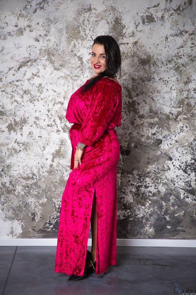 Różowa Sukienka PIENA Plus Size Maxi