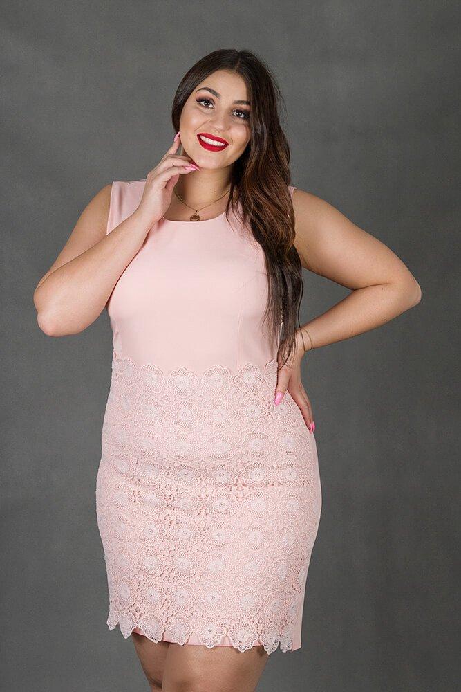Różowa Sukienka REINA Koronka