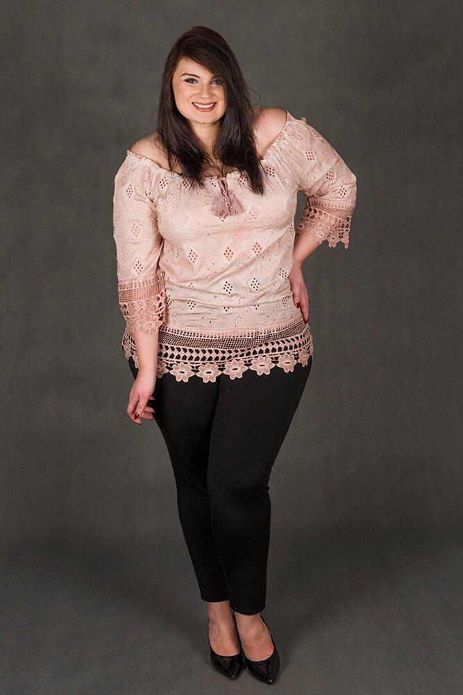 Różowa bluzka damska CORONA Koronka Plus Size