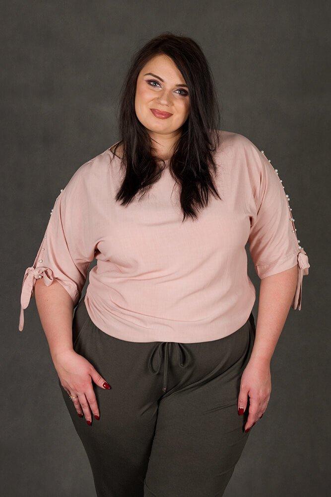 Różowa bluzka damska PASADA Kimono Perełki