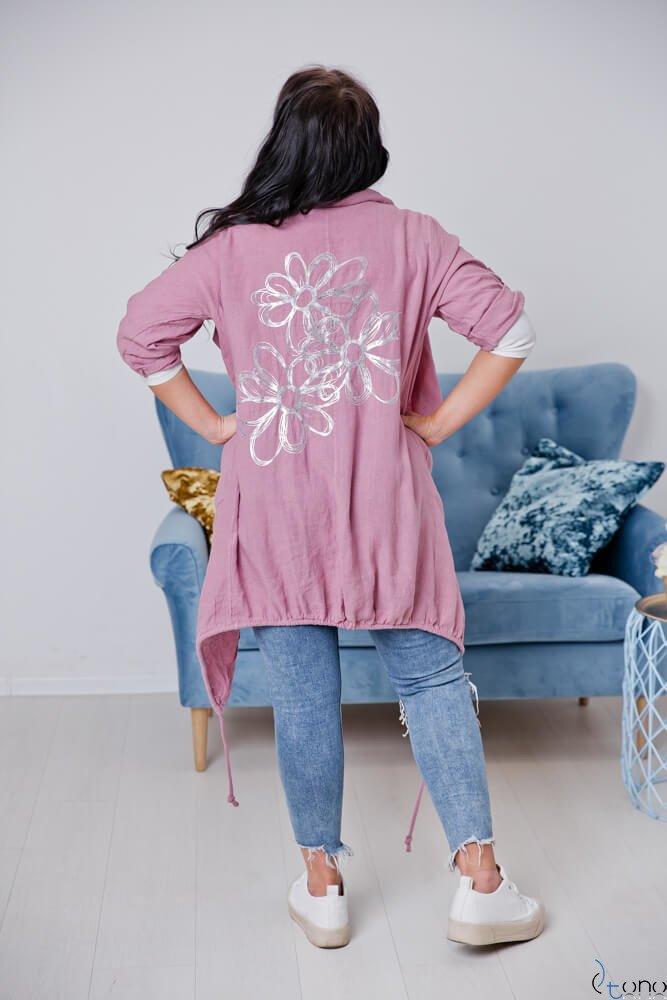 Różowy Kardigan EROLA Plus Size