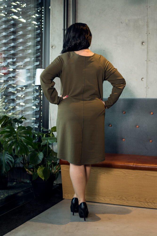 Sukienka DALLAS Khaki Rozkloszowana Oversize