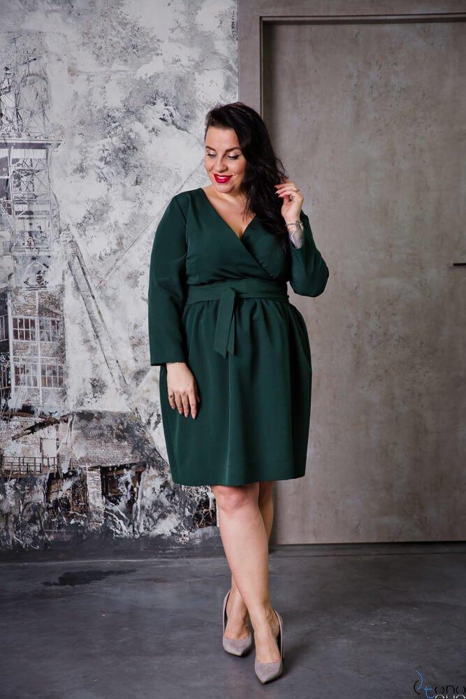 Zielona Sukienka MAKAN Kopertowa Plus Size