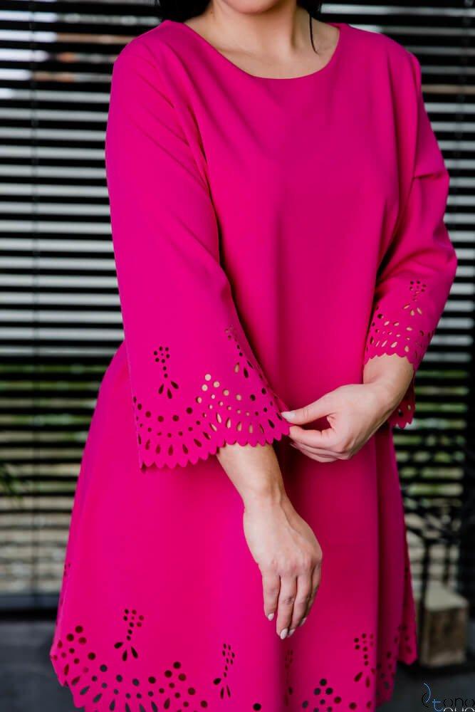 Sukienka STOFFA Fuksja Plus Size