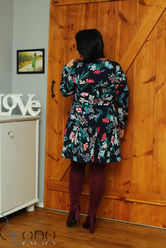 Sukienka TUSSY Falbanka Kwiaty wzór 1