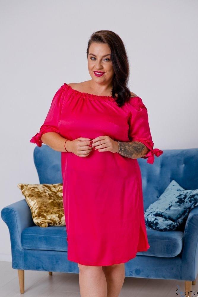 Sukienka VALENCIA Fuksja Hiszpanka Plus Size