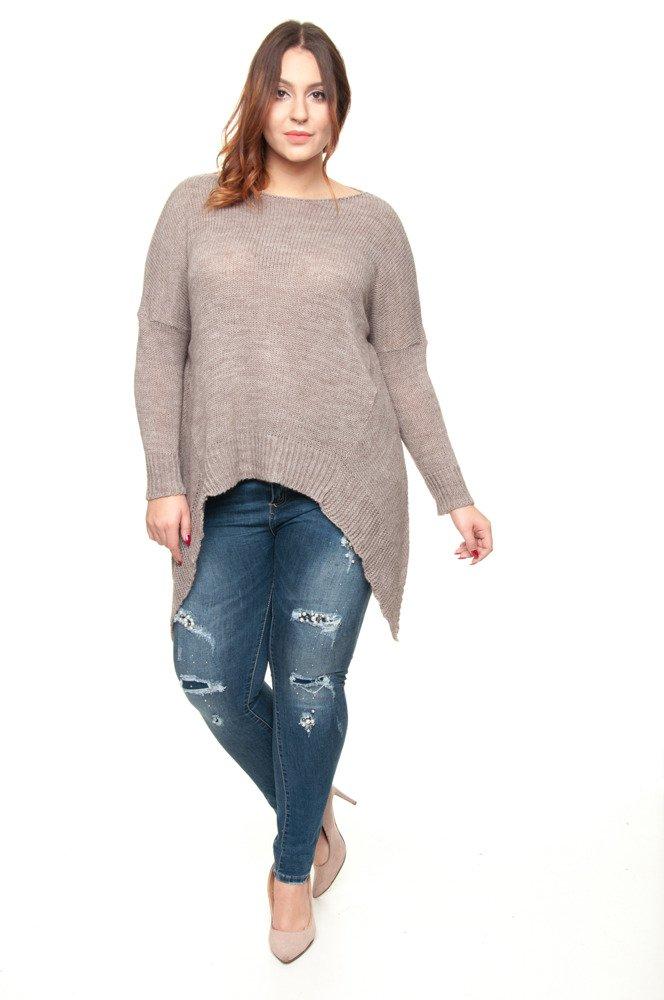 Sweter VERRA Ogony Plus Size CAPPUCCINO Plus Size