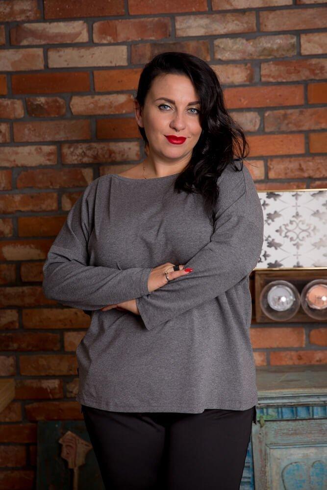 Szara Bluzka CIRCLE Plus Size Khaki