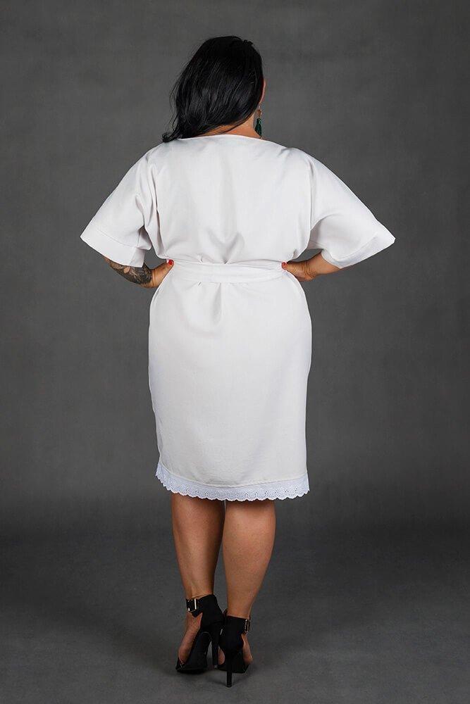 Szara Sukienka ATYLIA Plus Size Koronka