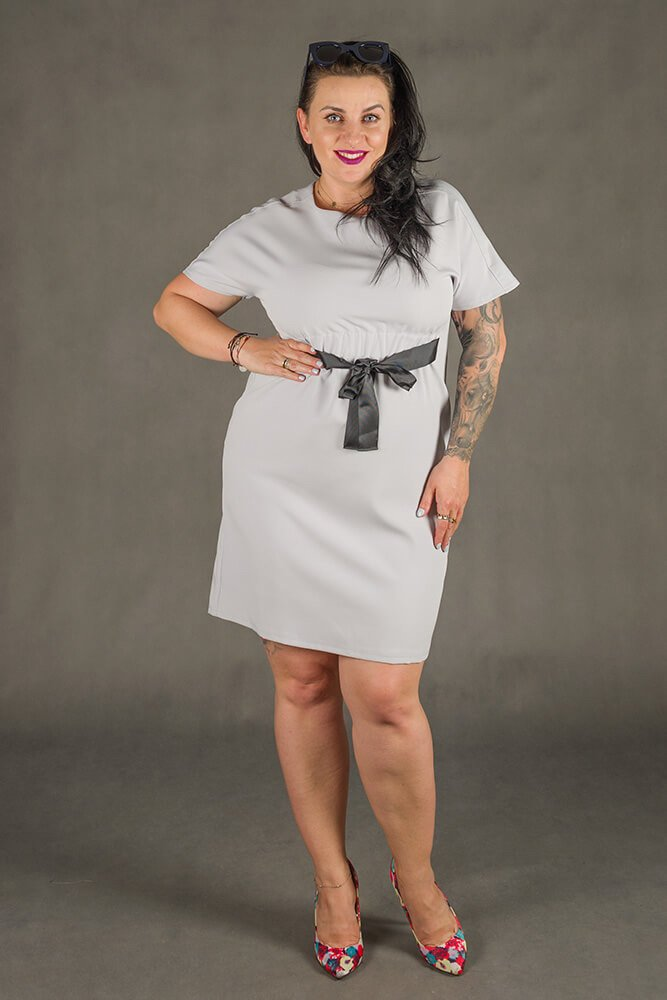 Szara Sukienka MARIETTA Plus Size