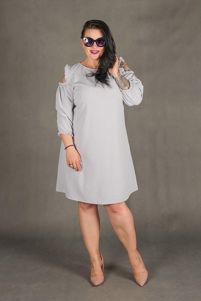Szara Sukienka POLLY Trapezowa Plus Size